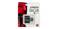 16 GB KINGSTON Micro SD-memóriakártya + SD adapter, CLASS 4